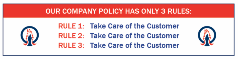 A graphic of ACSI Company Policy Rules Take Care of the Customer