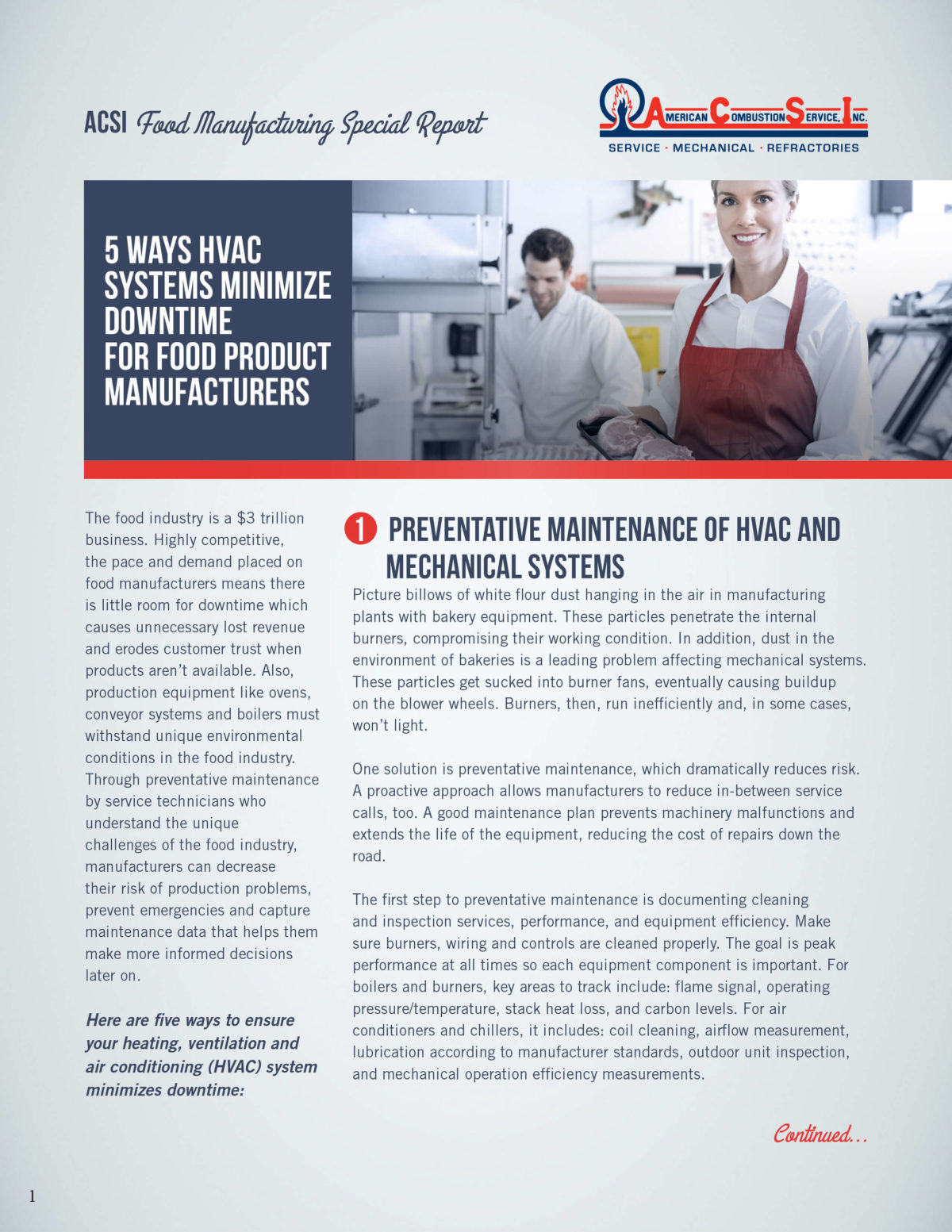 ACSI  Food Manufacturing Special Report