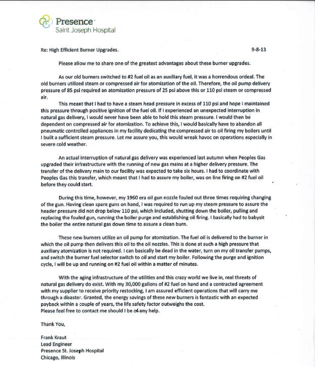 Photo of Presence St Joseph Testimonial Letter graphic from ACSI