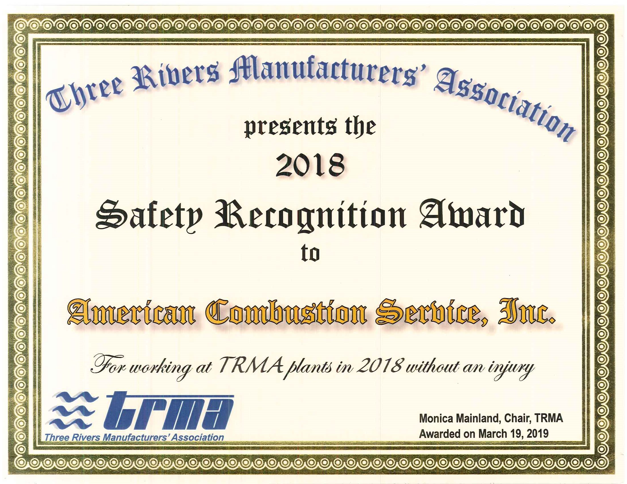 2018 TRMA Safety Award
