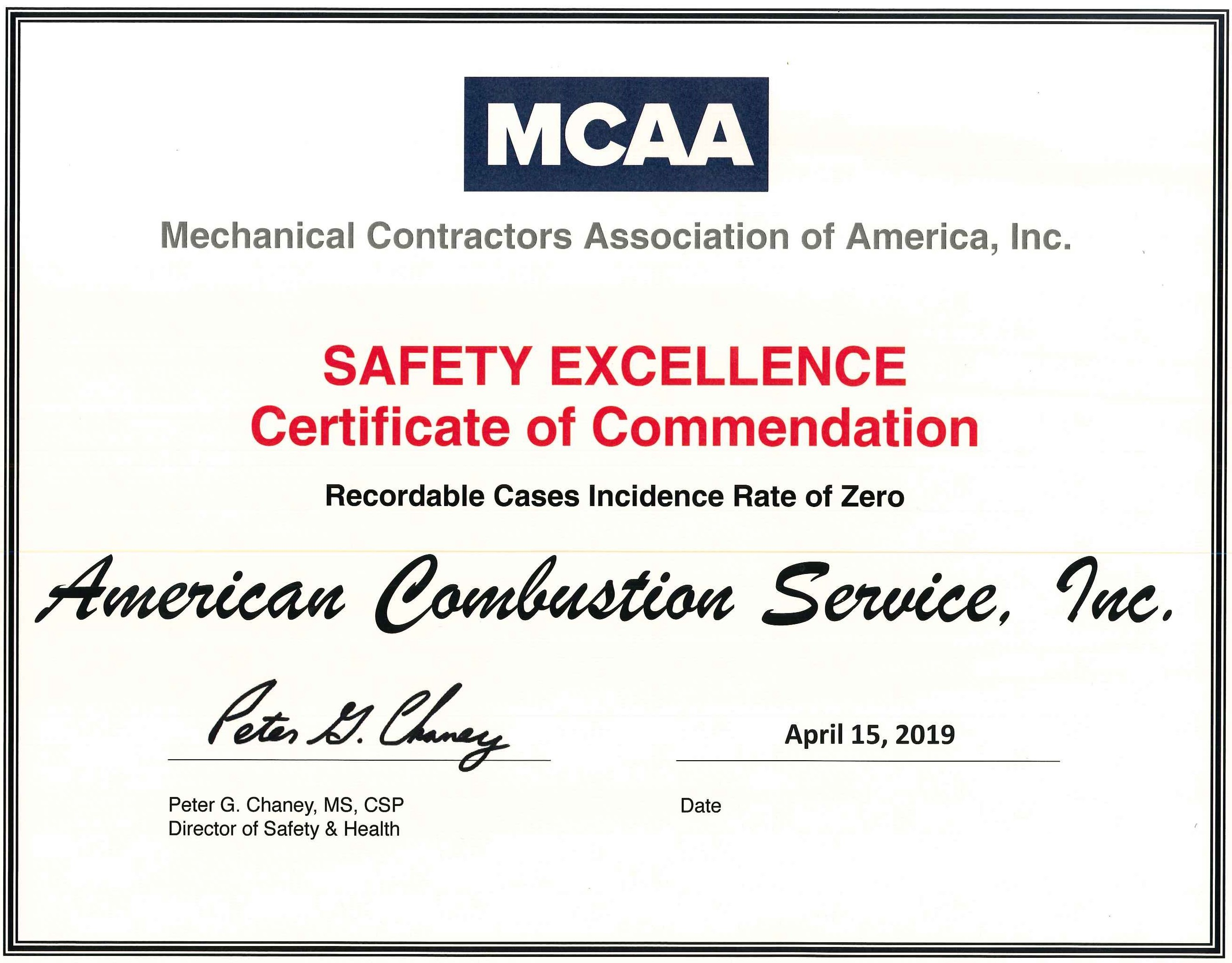 MCAA Safety Recognition Award-2018